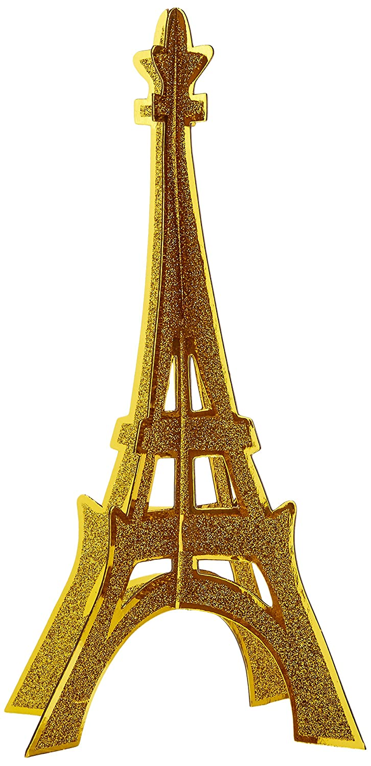 Beistle 54482 3-D Glittered Eiffel Tower Centerpiece, 12', Gold 12 The Beistle Company