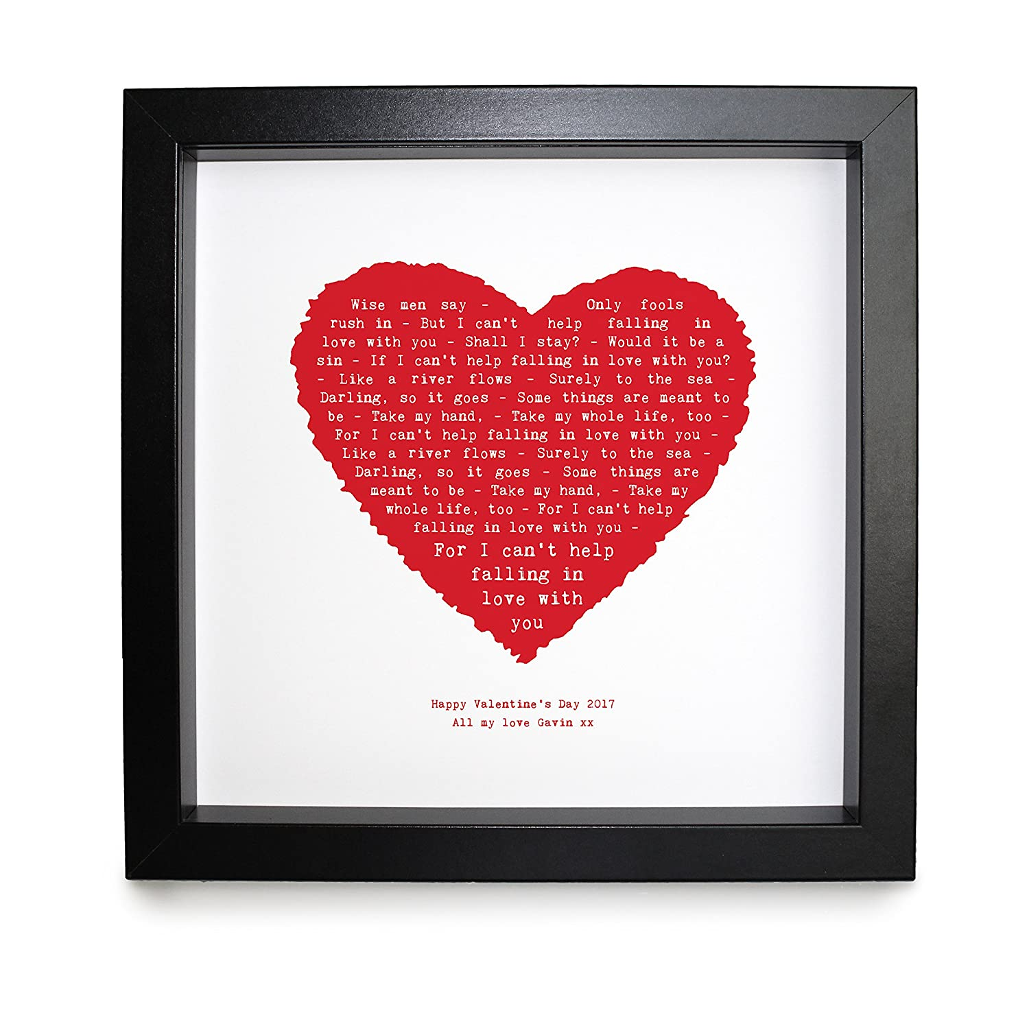 Elvis Presley - I can't help falling in love, HEART SHAPED DESIGNER PERSONALISED PRINT Framed