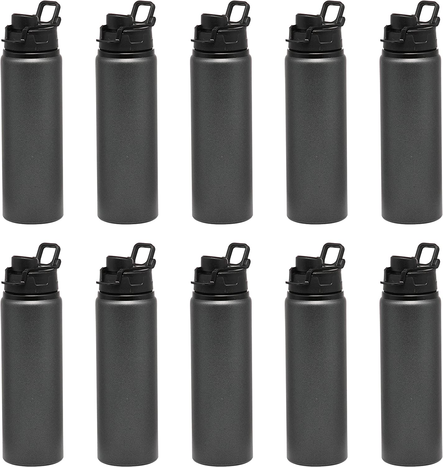 Aluminum Water Bottles with Snap Lids - 25 oz - 10 pack - Bottle with Lid - Great For The Gym, Camping, Hiking, Fishing - Charcoal