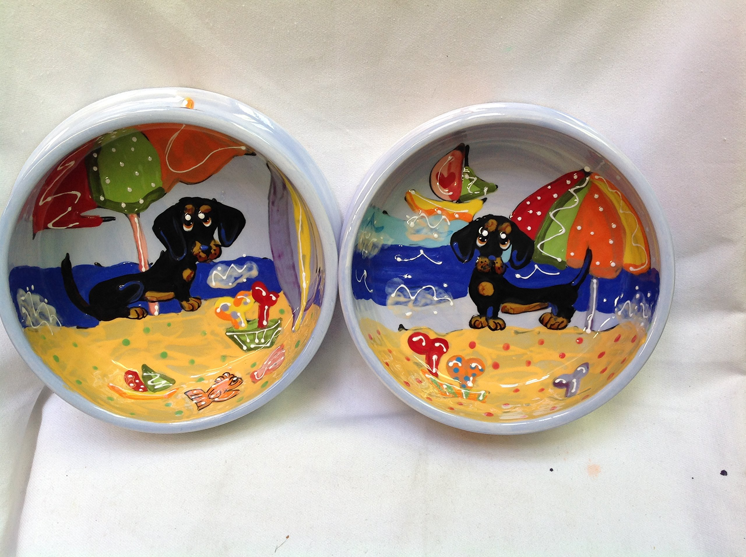Dachshund 8''/6'' Pet Bowls for Food/Water. Personalized at no Charge. Signed by Artist, Debby Carman.
