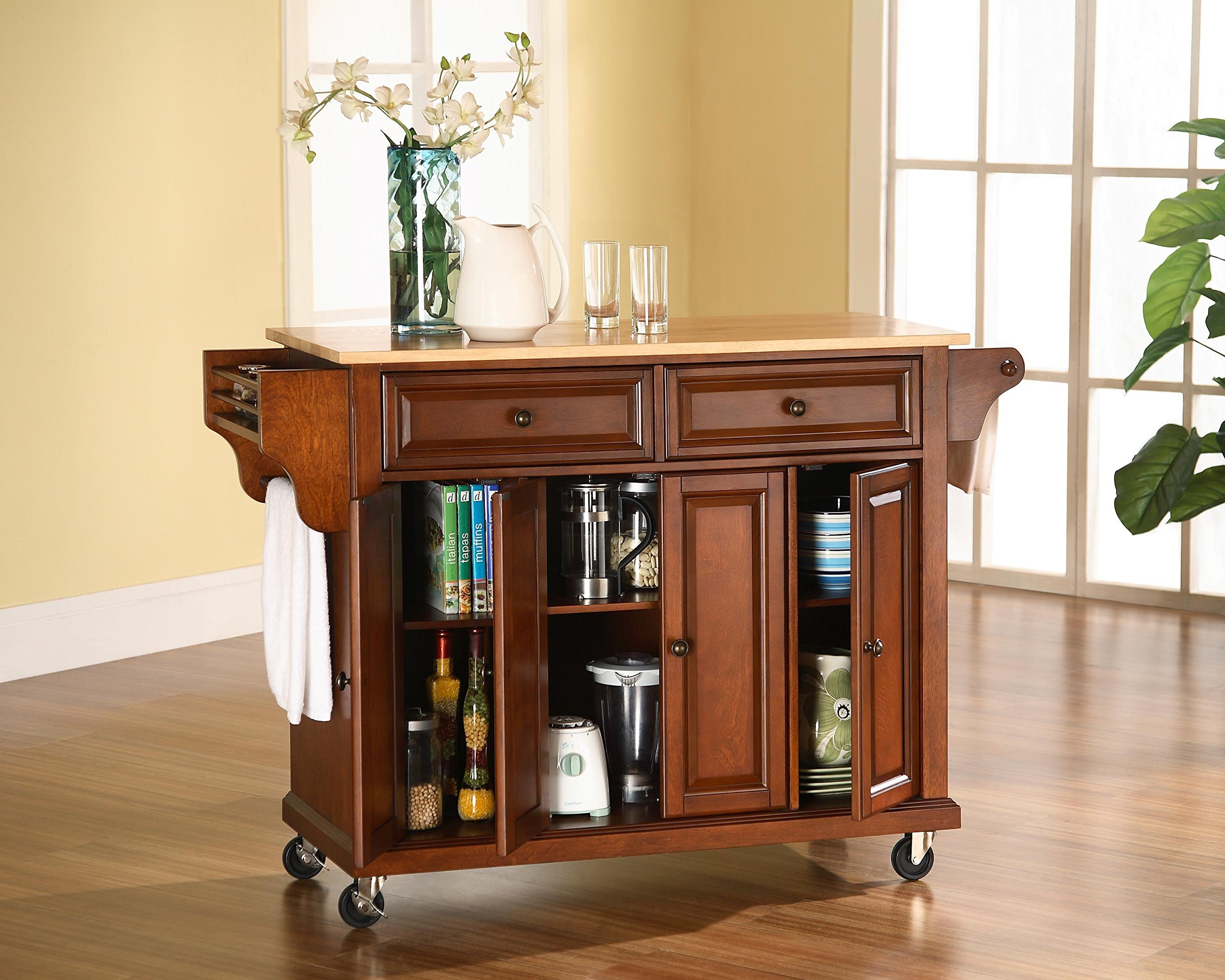 Crosley Furniture Rolling Kitchen Island with Natural Wood Top - White by Crosley Furniture (Image #3)