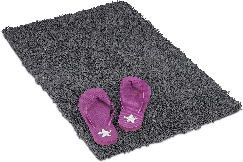 Relaxdays Alfombrilla de baño, Antideslizante, Lavable, Rectangular, 100% Algodón, 50x80 cm, 1 Ud, Gris