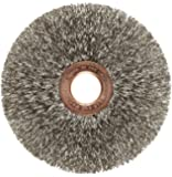 "Weiler Copper Center Wire Wheel Brush, Round Hole, Stainless Steel 302, Crimped Wire, 3"" Diameter, 0.008"" Wire Diameter, 1/2"" Arbor, 1"" Bristle Length, 5/8"" Brush Face Width, 20000 rpm"