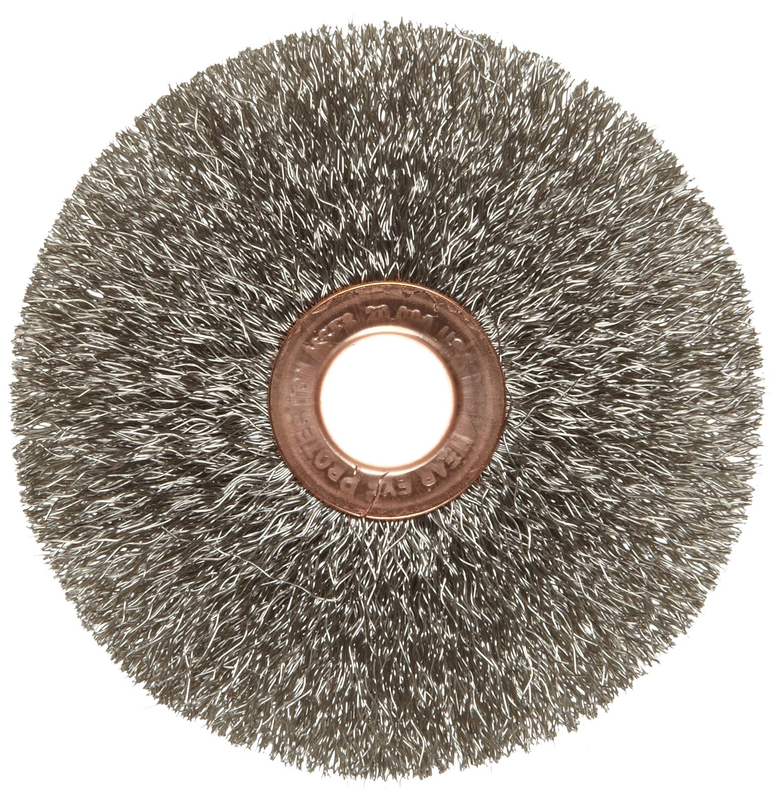Weiler Copper Center Wire Wheel Brush, Round Hole, Stainless Steel 302, Crimped Wire, 3'' Diameter, 0.008'' Wire Diameter, 1/2'' Arbor, 1'' Bristle Length, 5/8'' Brush Face Width, 20000 rpm