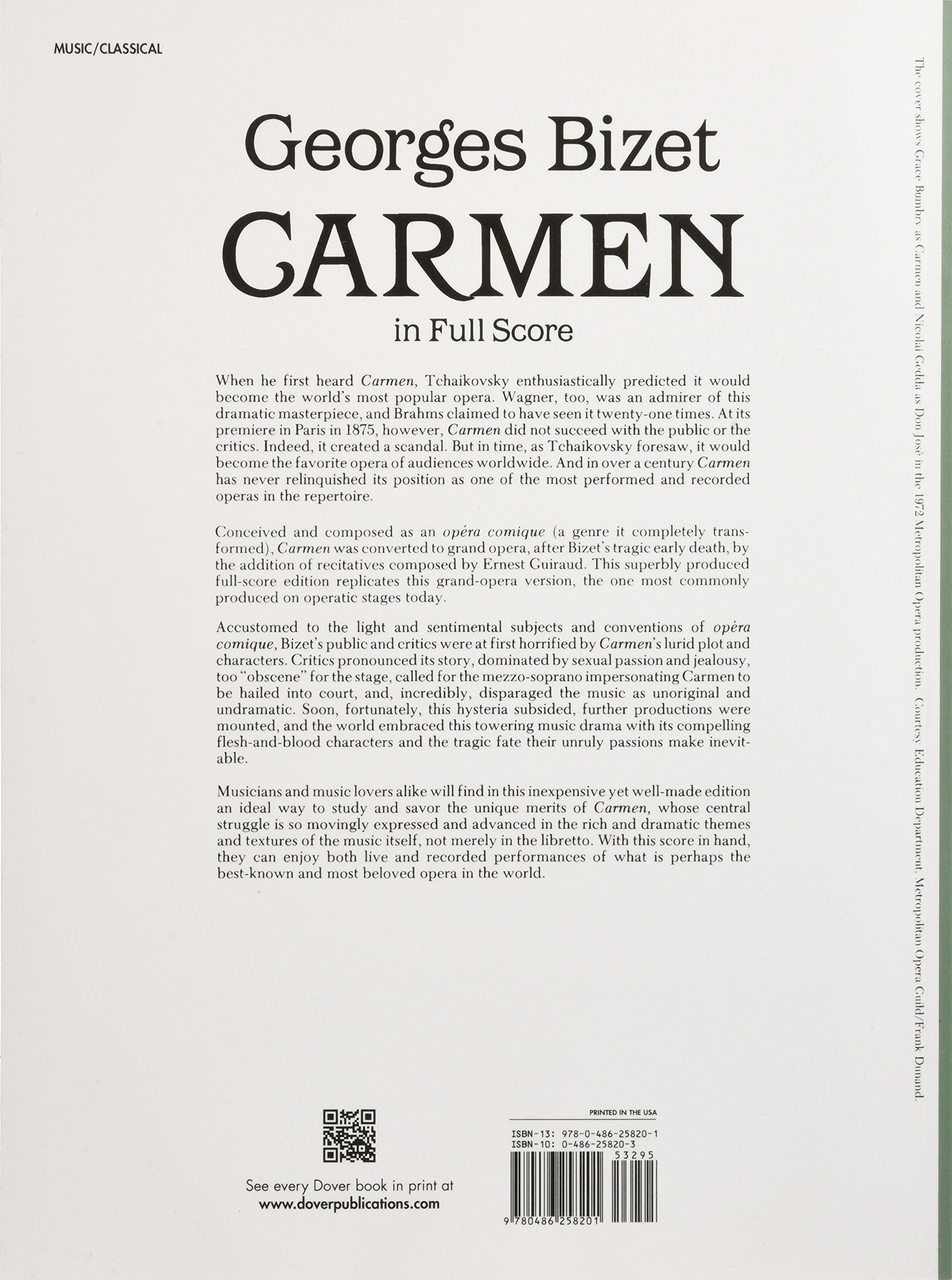 Carmen in Full Score (Dover Music Scores): Georges Bizet: 9780486258201:  Amazon.com: Books