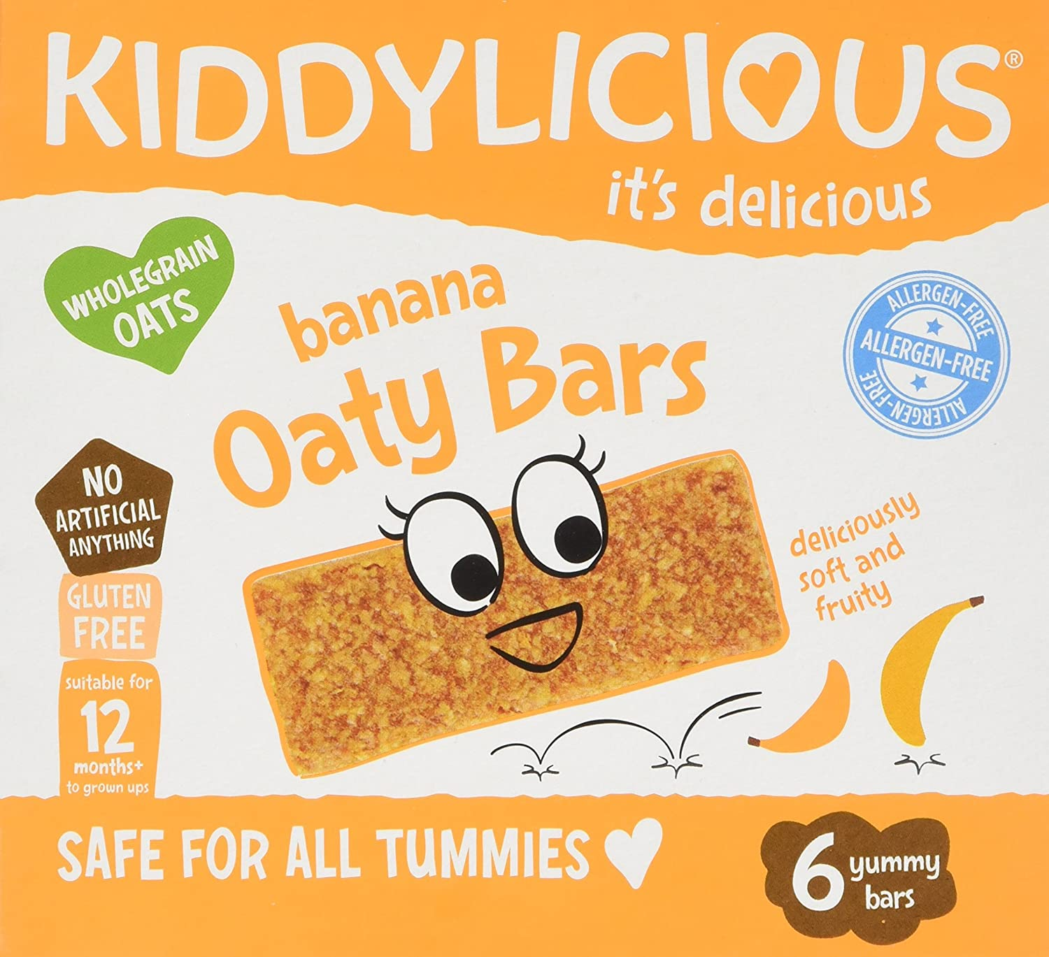 Kiddylicious Banana Oaty Bars, 20 g x 6 (Pack of 6) The Kids Food Co. 1080120
