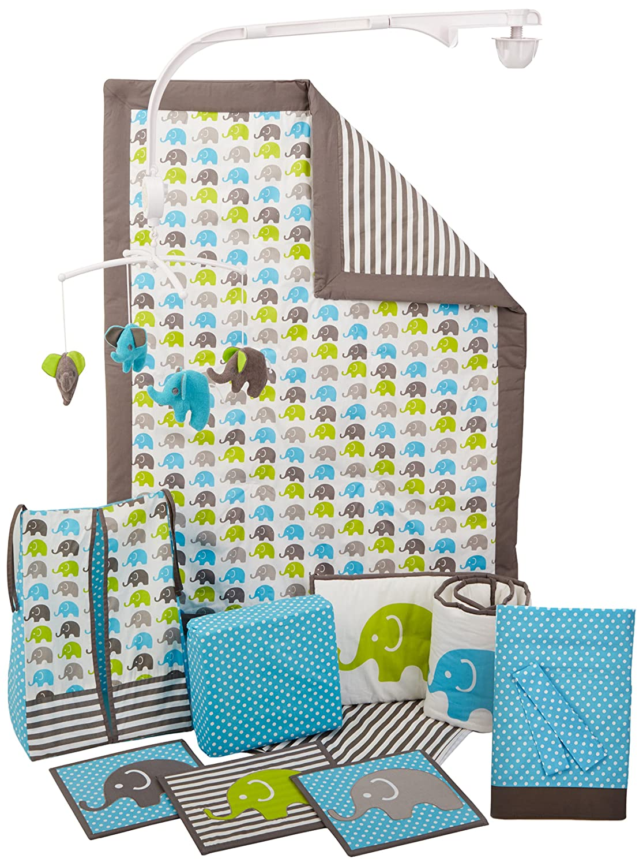 Bacati Elephants Crib Set with Bumper Pad, Aqua/Lime/Grey by Bacati [並行輸入品]   B0138L3766