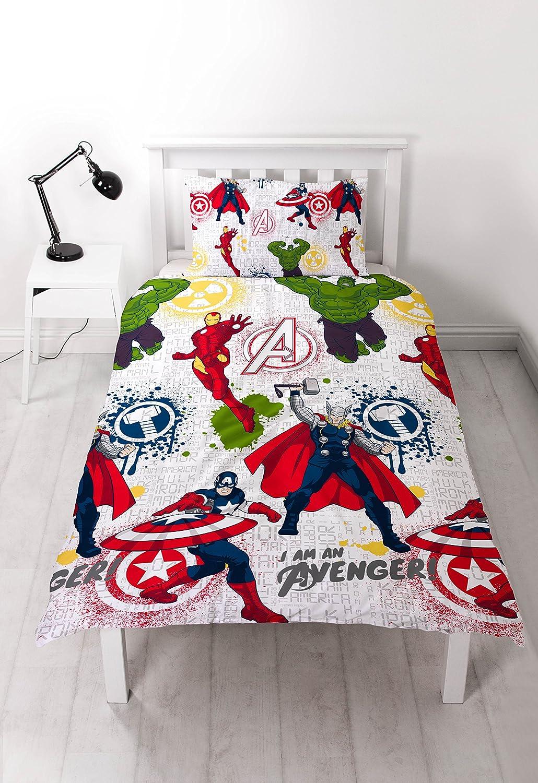 """Set Copripiumino Singolo con Stampa ripetuta Disney Marvel Avengers /""""Mission/"""""""
