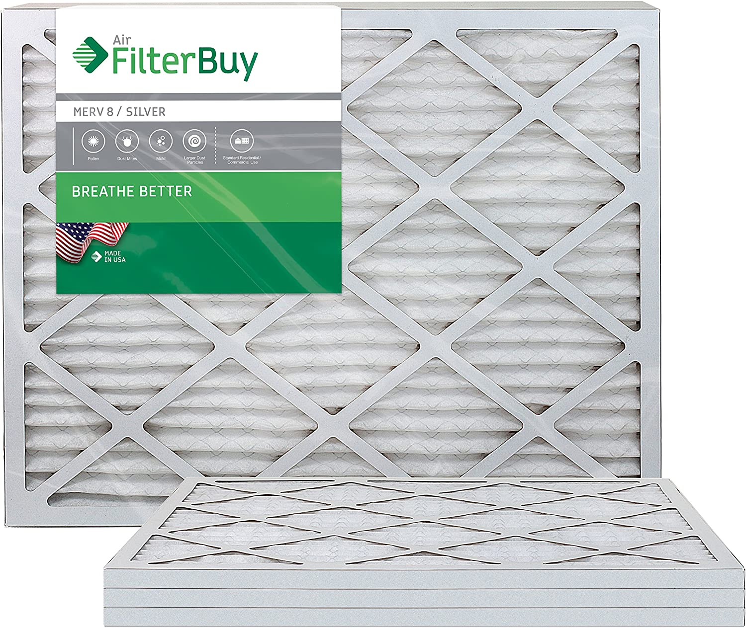 FilterBuy 14x36x1 MERV 8 Pleated AC Furnace Air Filter, (Pack of 4 Filters), 14x36x1 – Silver