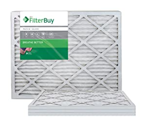 FilterBuy 14x30x1 MERV 8 Pleated AC Furnace Air Filter, (Pack of 4 Filters), 14x30x1 – Silver