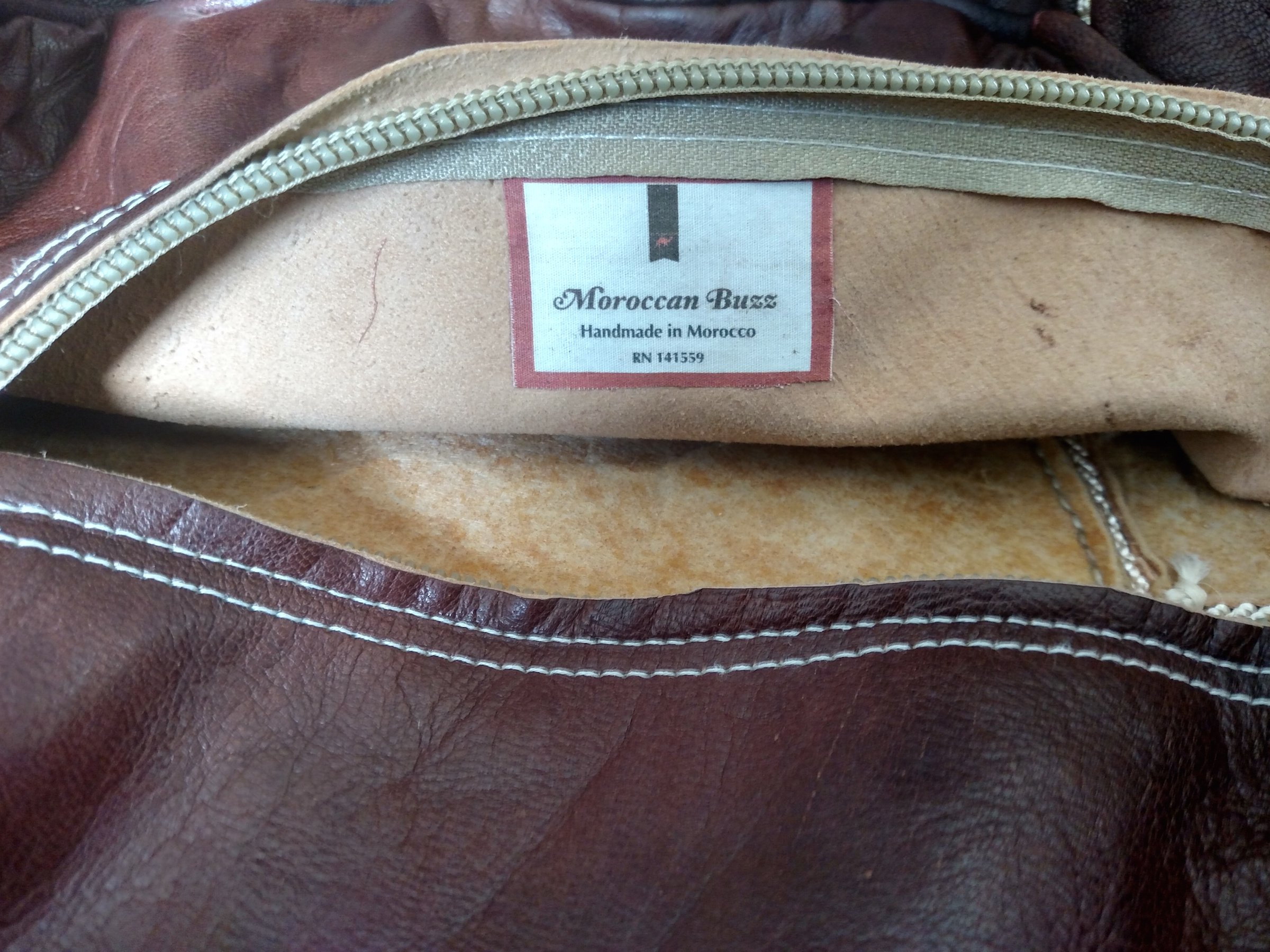 Moroccan Buzz 18-Pound Premium Stuffed Leather Pouf Ottoman, Brown