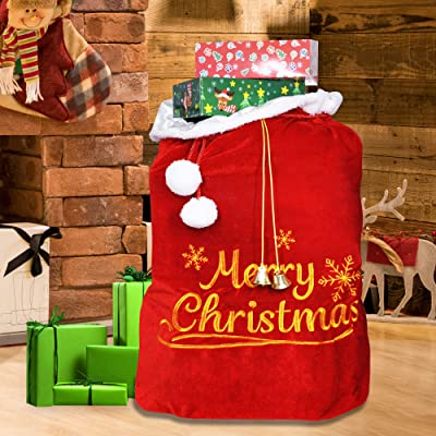"Christmas Santa Sack with Cord Drawstring (31"" x 27"") for Indoor Xmas Give Decoration, Holiday Gift Décor, Giant Presents Gifts Wrap.: Toys & Games"