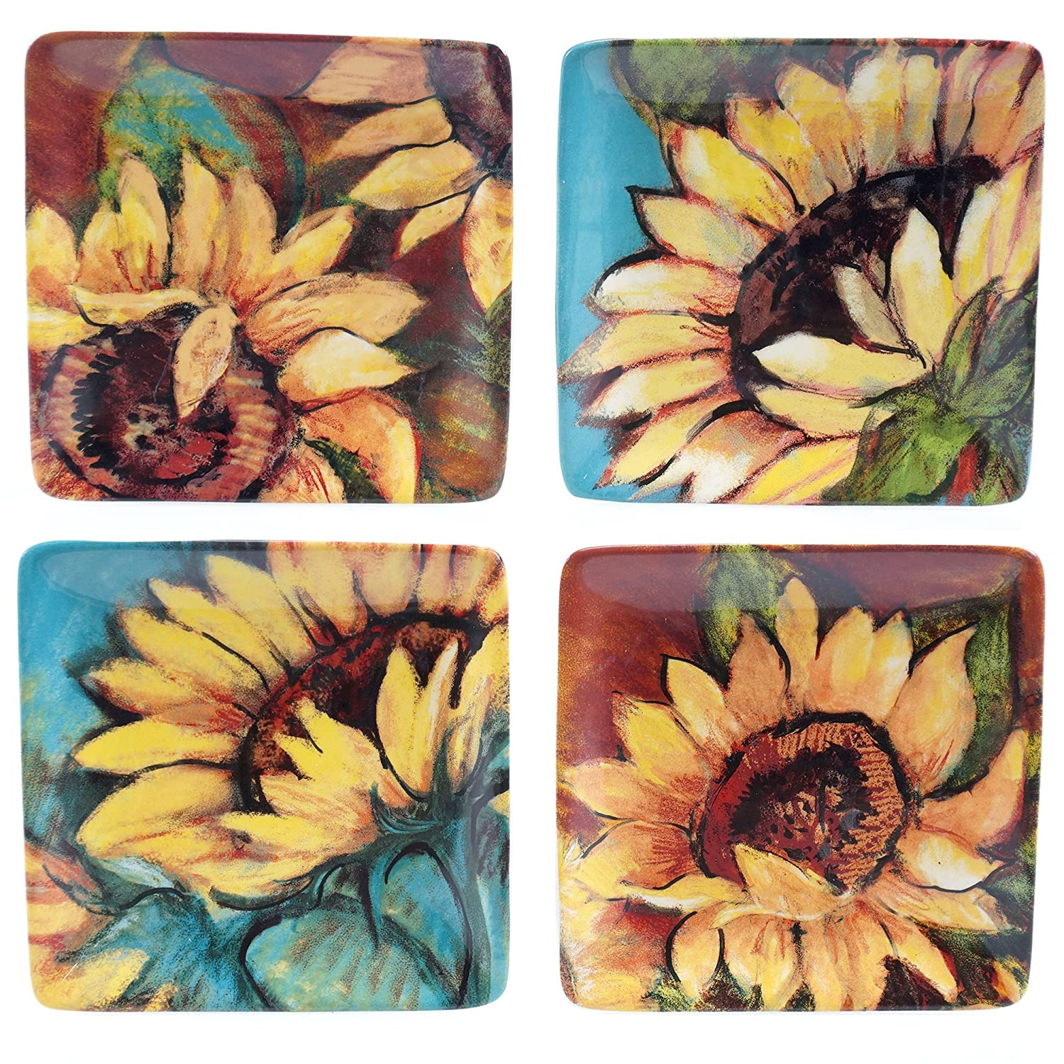Certified International 17721SET/4 Sunflower Rooster Canape Plates (Set of 4), 6-Inch, Multicolor