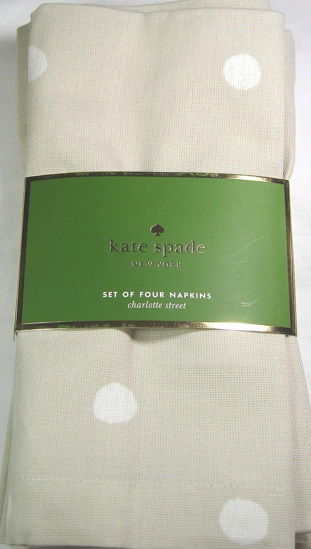 Kate Spade Napkins Charlotte Street Flaxseed 100% Cotton 4 Pk. 50cm x 50cm   B07D1MN2M3