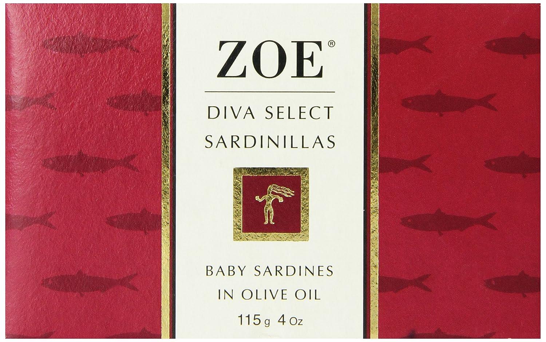 zoe diva select sardinillas in olive oil 4 oz tin pack of 4
