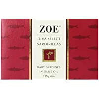 Zoe Diva Select Sardinillas in Olive Oil 4 Ounce Tin (Pack of 4), Baby Sardines...