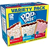 Pop-Tarts Breakfast Toaster Pastries, Flavored Variety Pack, Frosted Strawberry, Frosted Blueberry, Frosted Cherry, 22 oz (12 Count)(Pack of 12)