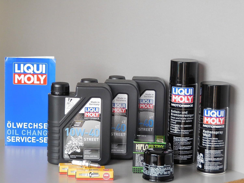 Equipo de mantenimiento para Yamaha MT-09 y Yamaha Tracer 900 con filtro de aceite, bujías, aceite para motores, productos para el cuidado de la cadena: ...
