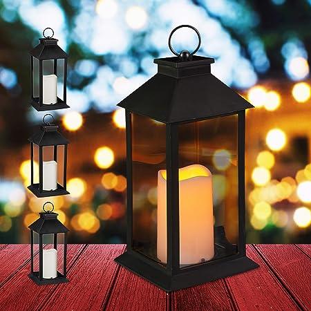 Relaxdays Set de Cuatro faroles LED de jardín, Vela con Efecto de Llama, Iluminación de Exterior, Colgante o de pie, 30 cm, Negro: Amazon.es: Hogar