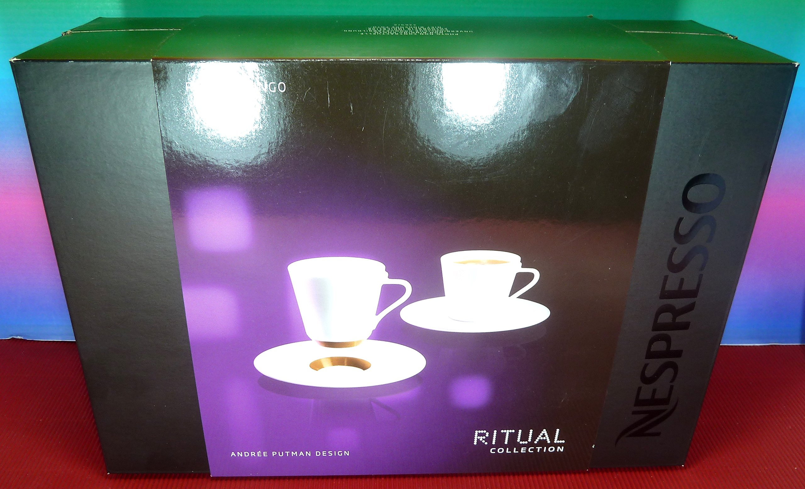 Nespresso Set 2 Ritual Lungo Porcelain Cups With Saucers,Andree Putman Design,Ritual Collection , New