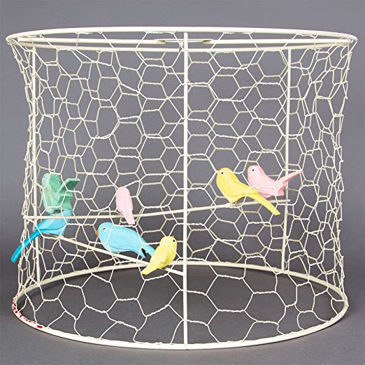 Unique pastel metal wire birdcage ceiling pendant light lamp shade unique pastel metal wire birdcage ceiling pendant light lamp shade with birds greentooth Image collections