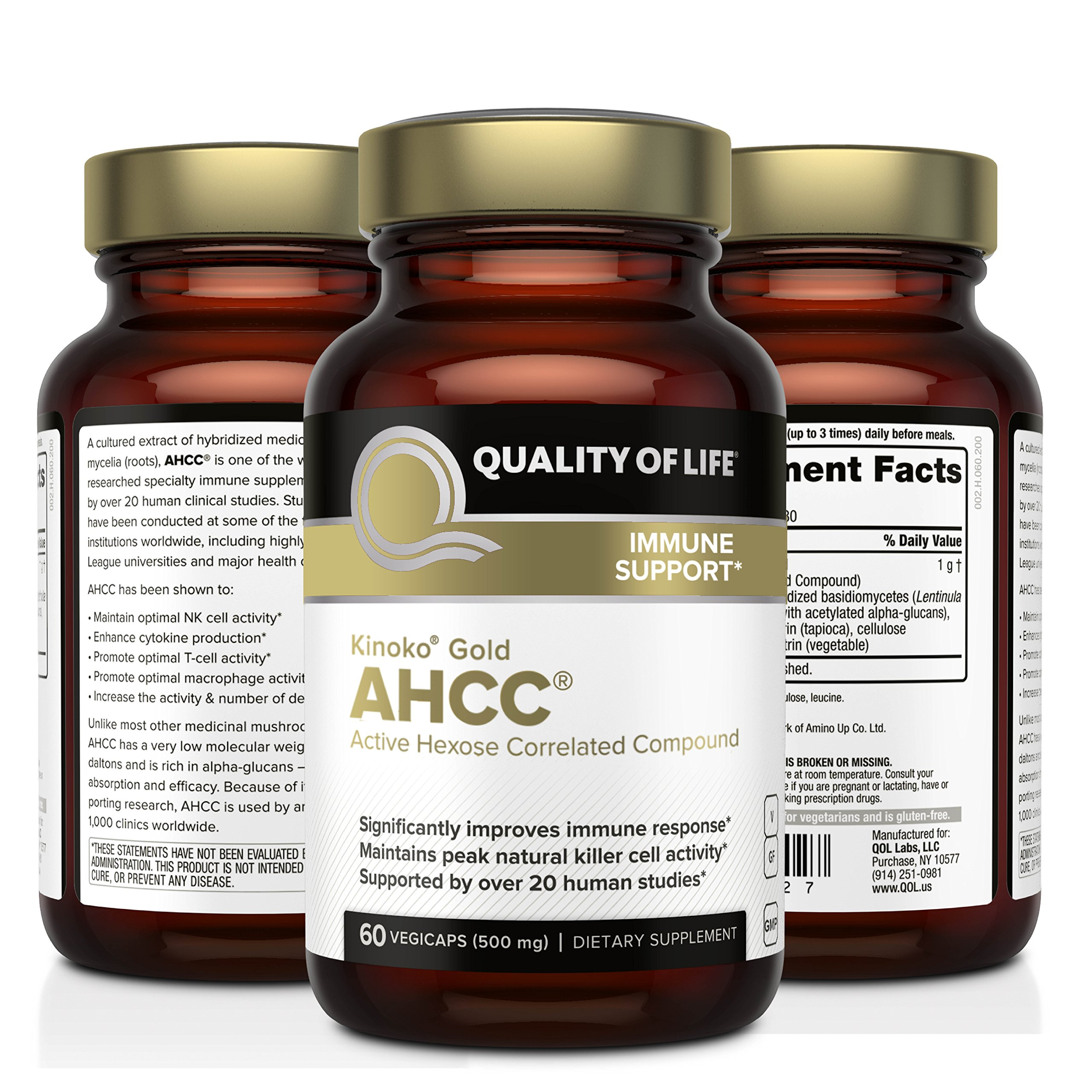 Premium Kinoko Gold AHCC Supplement-500mg of AHCC per Capsule-Supports Immune Health, Liver Function, Maintains Natural Killer Cell Activity & Enhances Cytokine Production-60 Veggie Capsules by Quality of Life (Image #4)