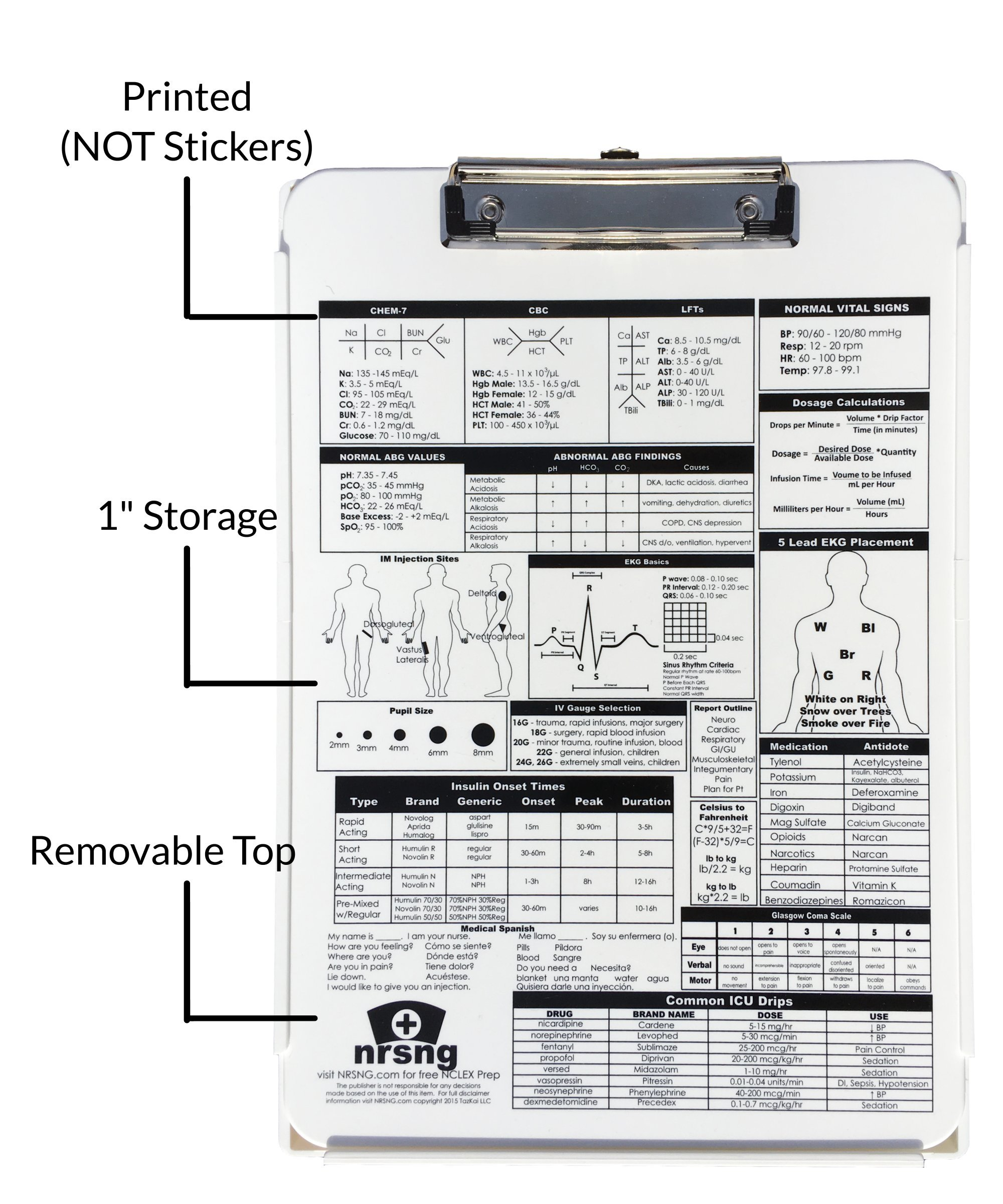 DISCOUNT Nursing Clipboard with Storage and Printed Reference: White Durable Medical Clipboard (Includes 2 Freebies: Nursing Brain Sheet and Physical Assessment Sheet)