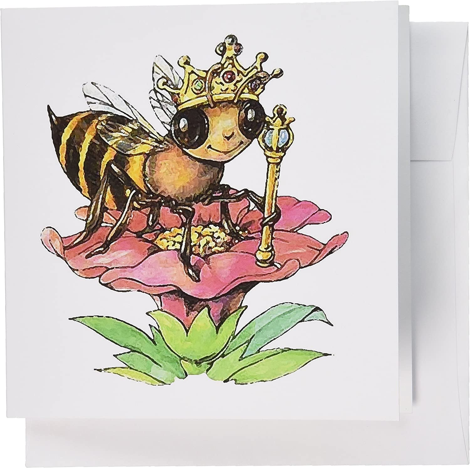 3dRose Bee The Queen - Greeting Cards, 6 x 6 inches, set of 6 (gc_3306_1)