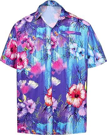LA LEELA Camisa de Flores Hawaiano de Manga Corta de los Hombres Azul_6027 M - Pecho Contorno (in cms) : 101-111: Amazon.es: Ropa y accesorios