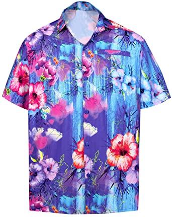 "514d23e2 LA LEELA Men's Hawaiian Short Sleeve Floral Shirt Blue_6027 XS | Chest  36"" - 38"""