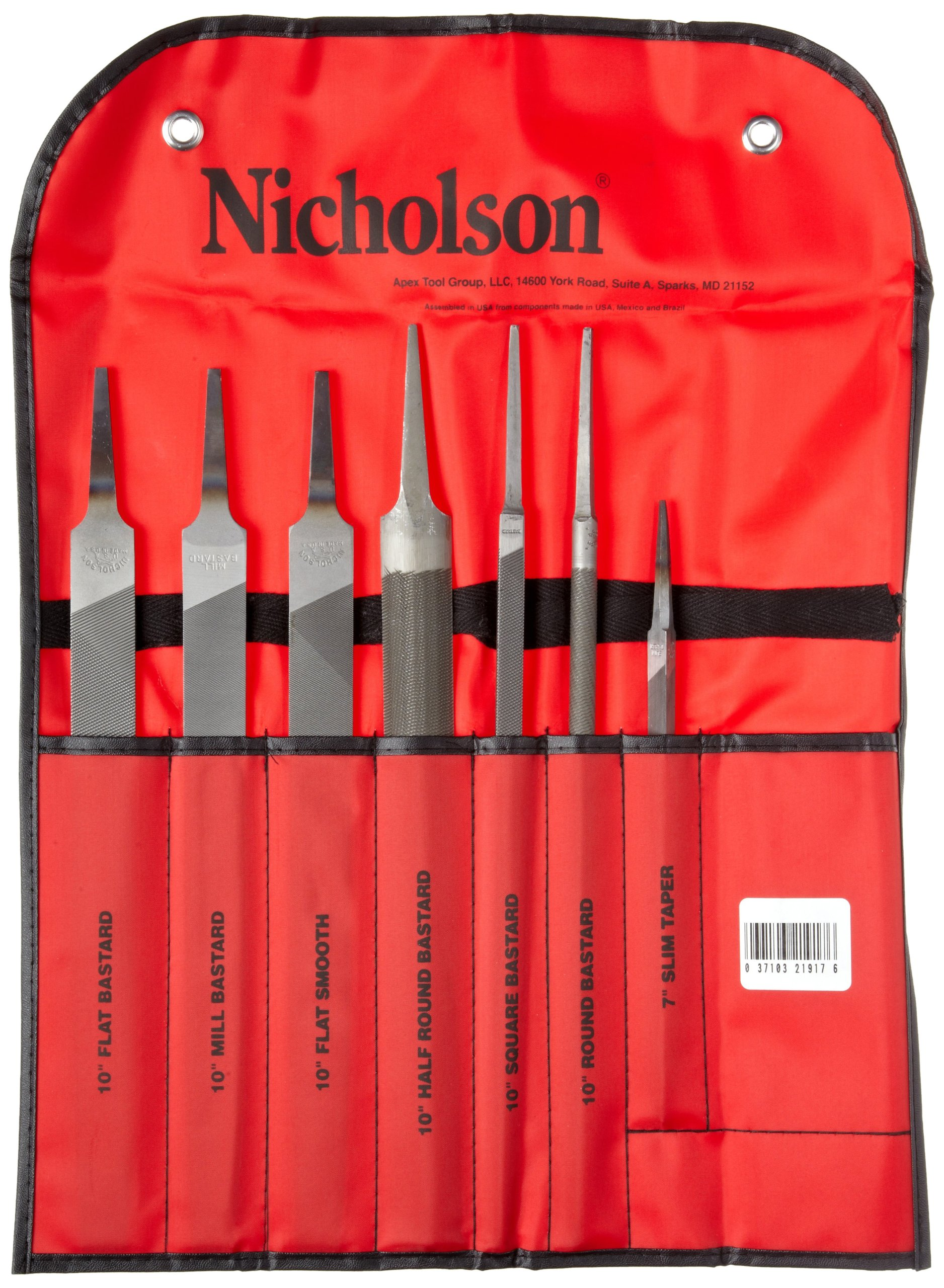 Nicholson 7 Piece Machinist Hand File Set, American Pattern, 6'' Length by Apex Tool Group (Image #2)