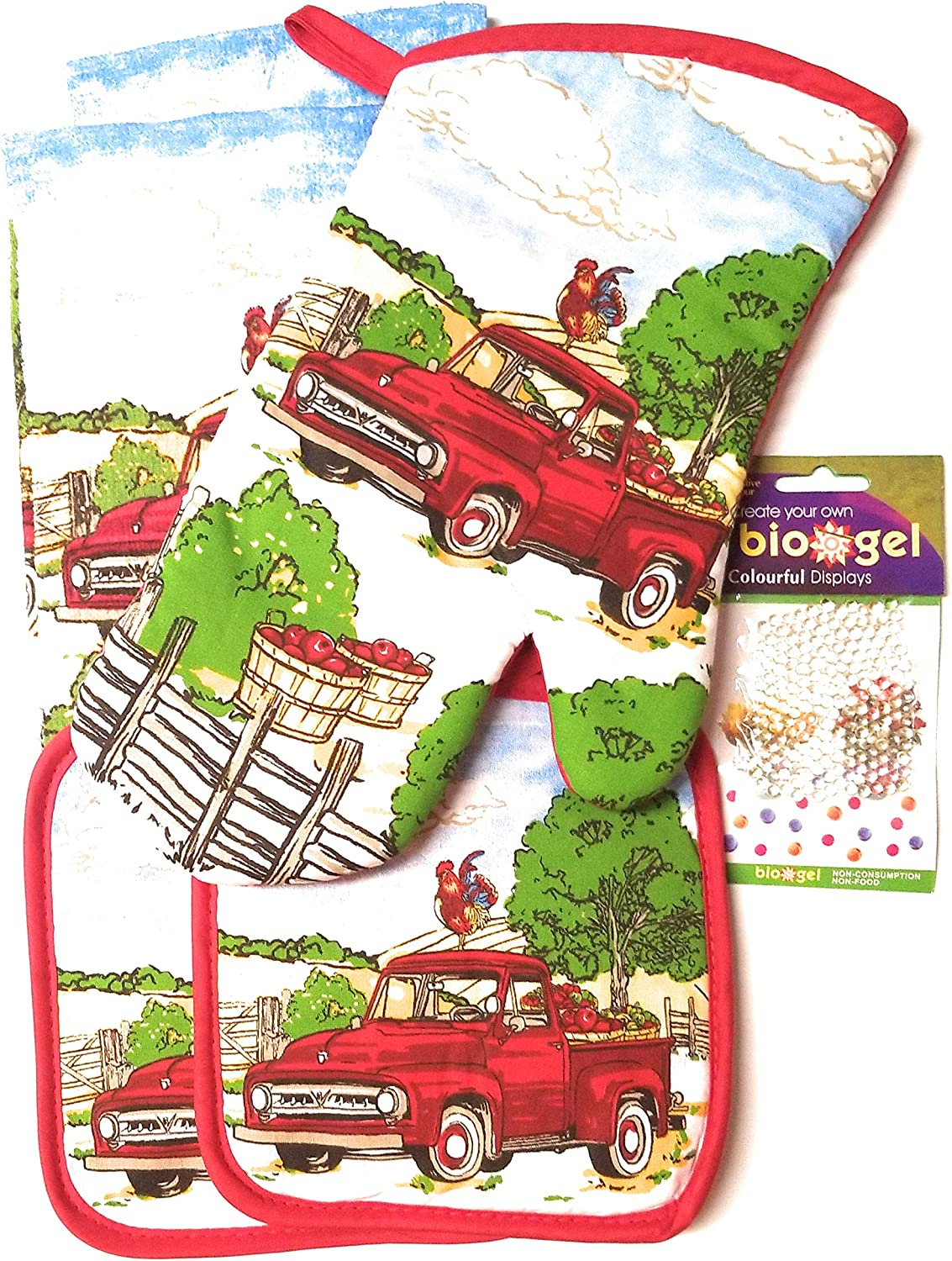 Village Gifts Apple Harvest Themed Kitchen Towel Set 5 pc. (Includes: 1 Oven Mitt, 2 Potholders and 2 Dishtowels).