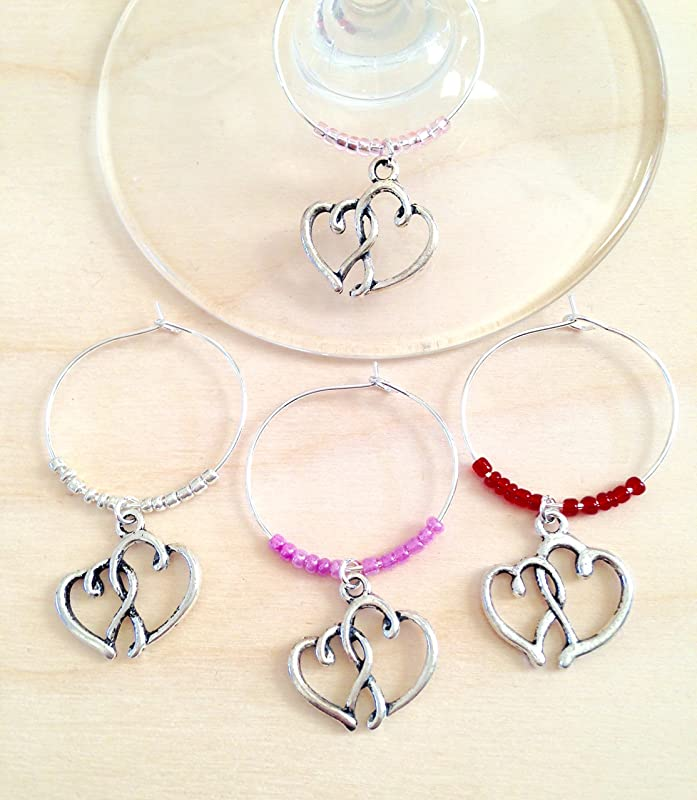 silver wooden wine charms unique wine gift Set of 30 wooden wine glass charms wine hostess gift wine accessories