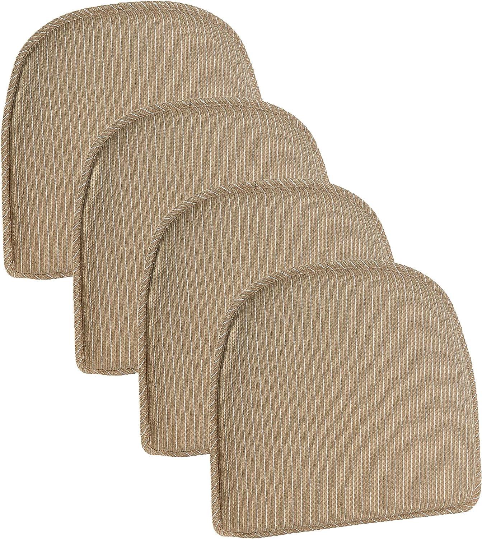 "Klear Vu Nakita Striped Non-Slip Dining Kitchen Chair Pads, 15"" x 16"", Set of 4 Cushions, Natural"