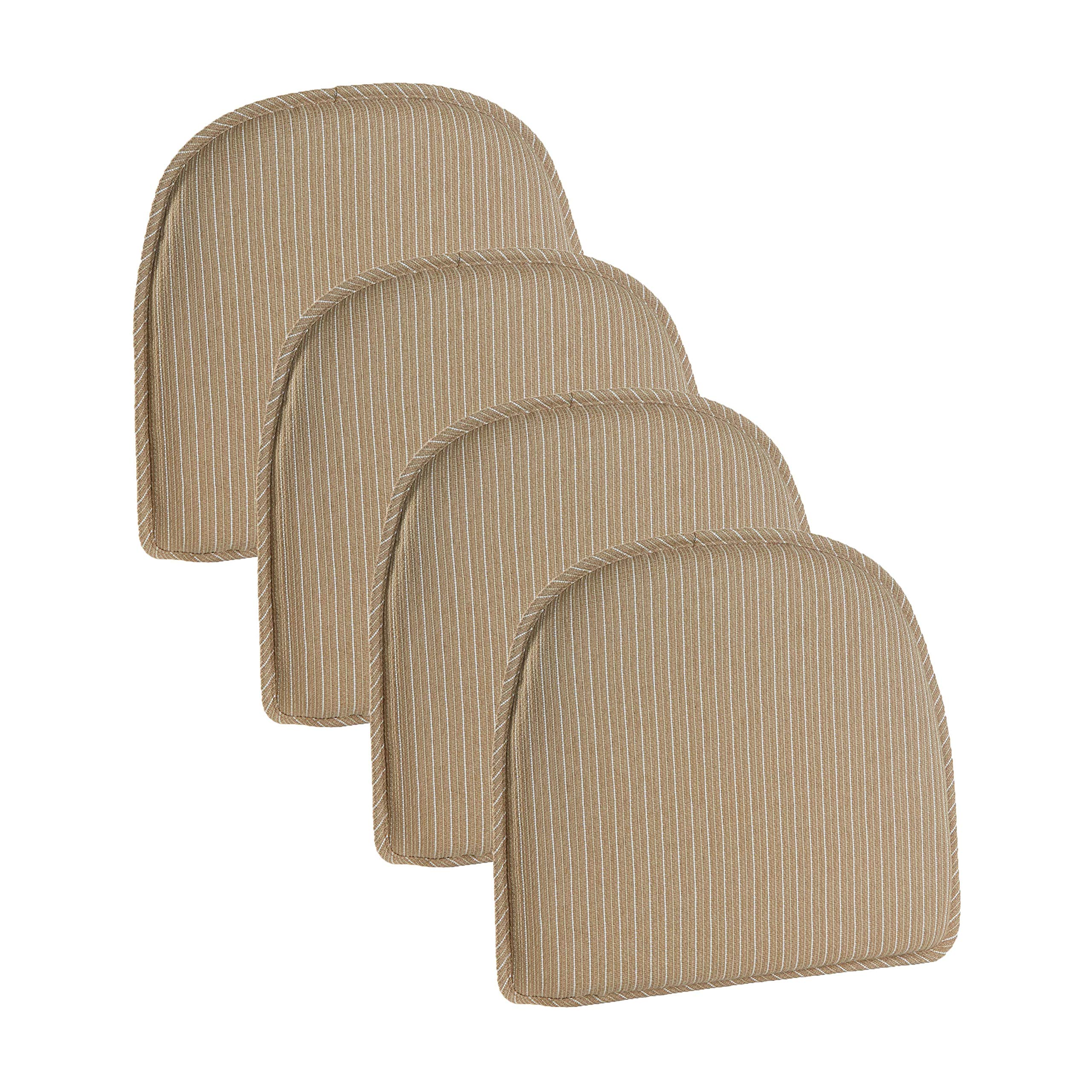 Klear Vu Nakita Striped Non-Slip Dining Kitchen Chair Pads, 15'' x 16'', Set of 4 Cushions, Natural