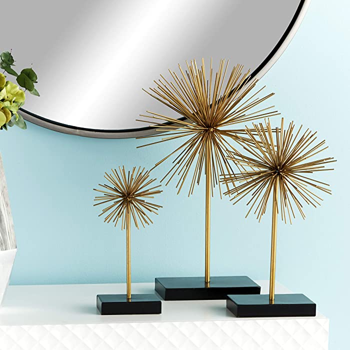 "CosmoLiving by Cosmopolitan 50384 Tall Contemporary Style 3D Round Gold Metal Starburst Sculptures on Black Stands | Set of 3: 11"", 15"", 20"""