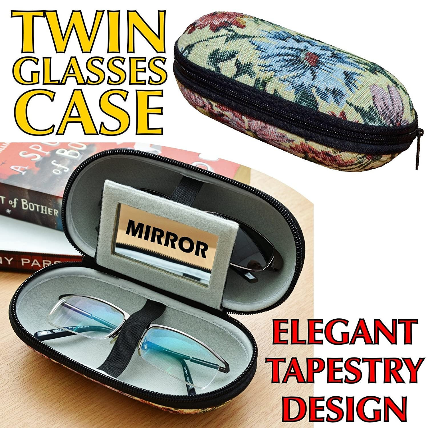 Brillenetui Hartschalen-Etui mit eleganter Tapisserie-Au/ßenseite f/ür zwei Brillen geeignet weicher Innenseite