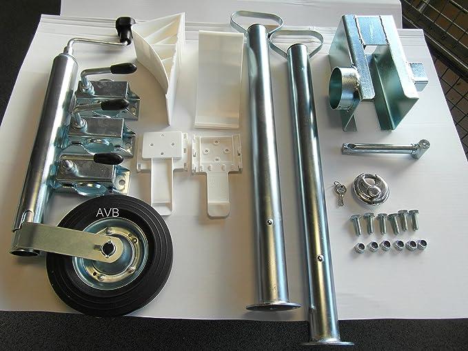 Avb Komplettpaket F Pkw Anhänger Stützen 600 Mm Premiumschloß Stützrad Adapter 13 7 Keile Weiss Auto