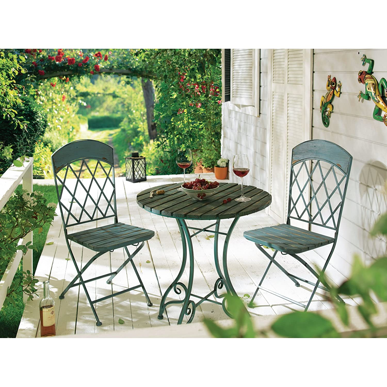 gartenset vintage blau metall holz mix tisch ca 74cm hoch 65 cm stuhl ca b40. Black Bedroom Furniture Sets. Home Design Ideas