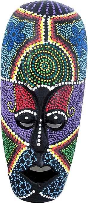 African Decor Hang Tiki Turtle Mask Tribal Hand Carved Paint Craft Wood Bali Art