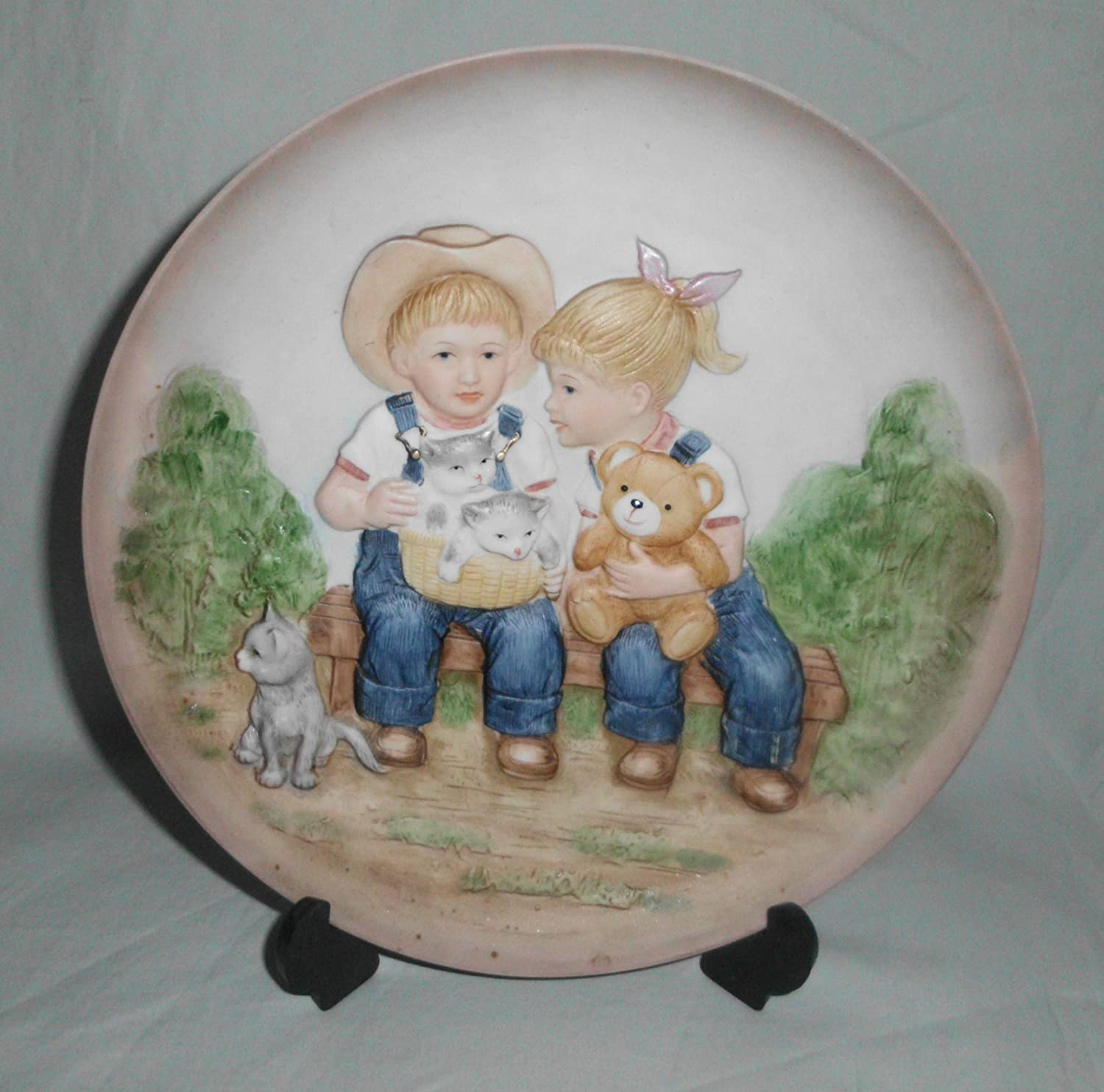 "Vintage 1985 Denim Days Homco"" Sunny Days"" Ceramic Plate #1505"