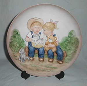 "Vintage 1985 Denim Days Homco"" Sunny Days"" Ceramic Plate #1505"