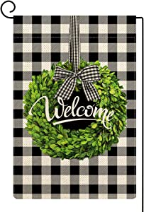 Molili Welcome Boxwood Wreath Garden Flag Burlap Vertical Double Sided Spring Buffalo Check Plaid Bow-Knot Rustic Farmhouse Flag Yard Outdoor Decoration 12.5 x 18 Inch