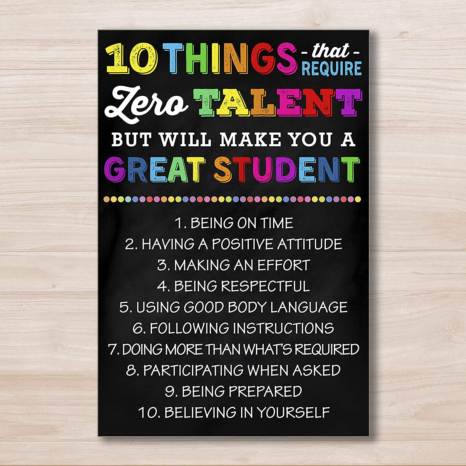 AprilLove 10 Things That Require Zero Talent Poster, Back to School Poster, Successful Student, Classroom Management, Classroom Decor