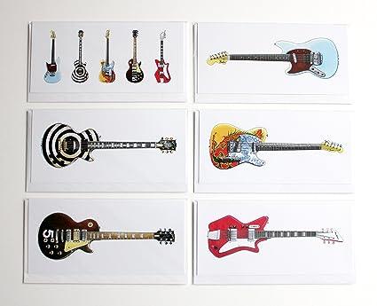 Guitarras eléctricas de famoso, paquete de 6 tarjetas de felicitación, DL tamaño