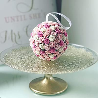 Savvi Jewels Pink Blush Paper Flower Kissing Ball For Flower Girl Floral Balls Rose Kissing Ball Rose Artificial Flowers