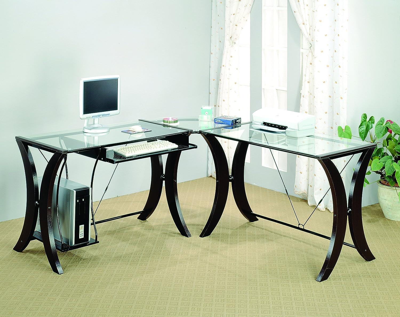 coaster l shape home office computer desk cappuccino finish base glass top
