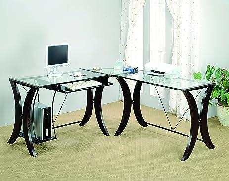 Coaster L Shape Home Office Computer Desk, Cappuccino Finish Base, Glass Top
