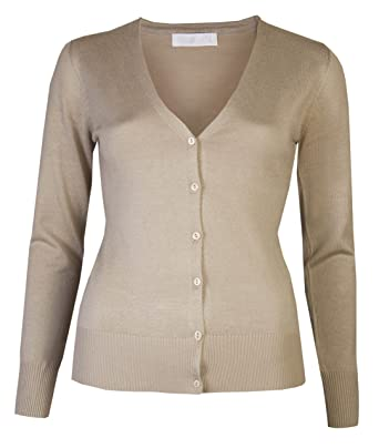 e5344b1bd Womens Cardigans Ladies V-Neck Button Cardigan Plain Fine Knit Sweater  Winter Cardi: Amazon.co.uk: Clothing