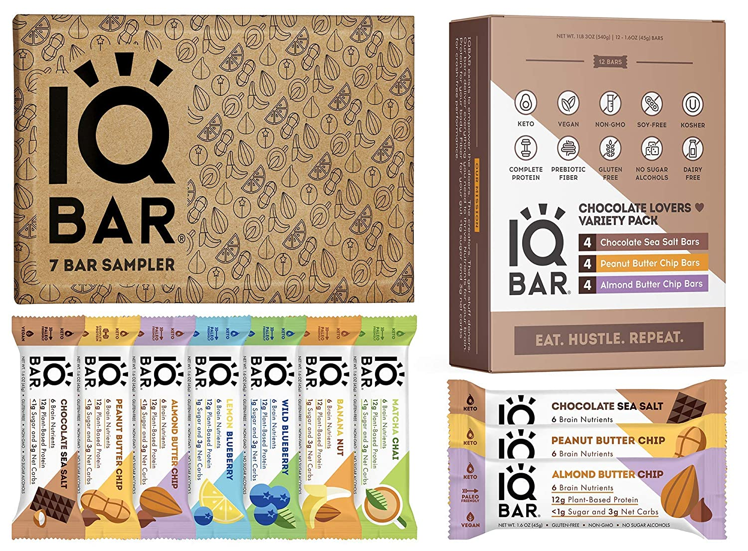 IQBAR Keto Protein Bars Bundle (19 Bars) - Gluten-free, Dairy-free Low Carb Protein Bars and Vegan Snacks - 12 Low Carb Chocolate Lovers Variety Protein Bars + 7 Bar Sampler Keto Snacks